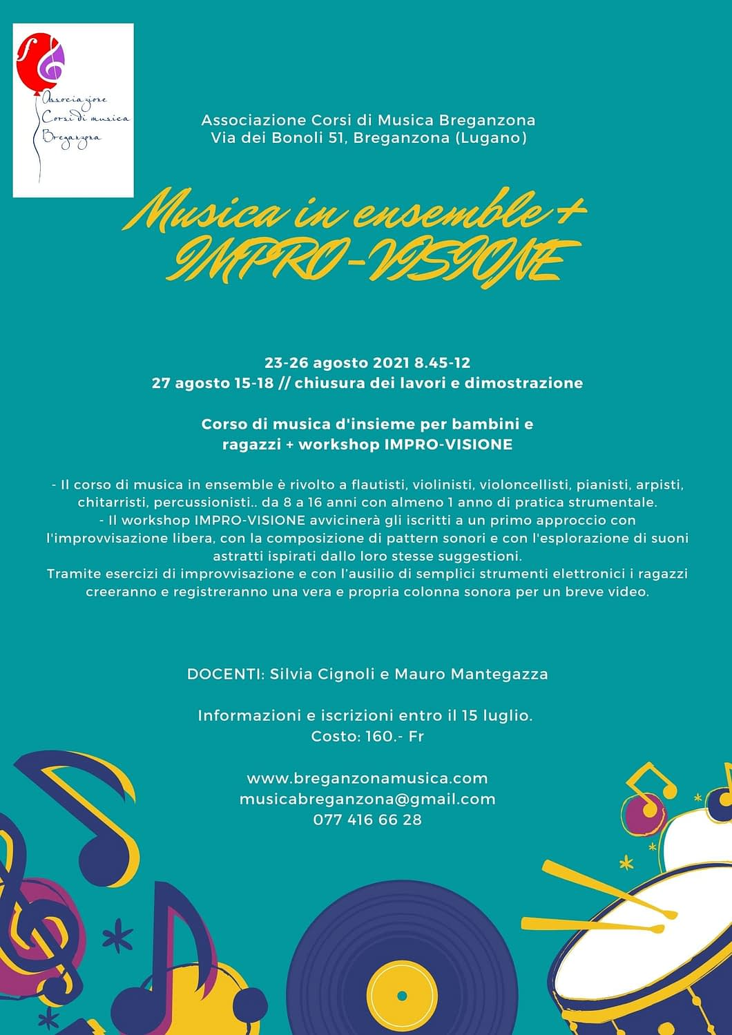 corso estivo 2021 Associazione Corsi di Musica Breganzona
